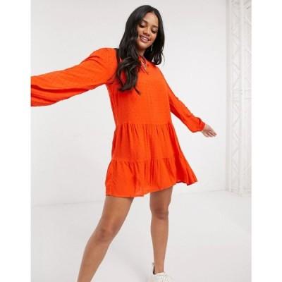 ジェイディーワイ JDY レディース ワンピース ミニ丈 ワンピース・ドレス Smock Mini Dress In Orange オレンジ