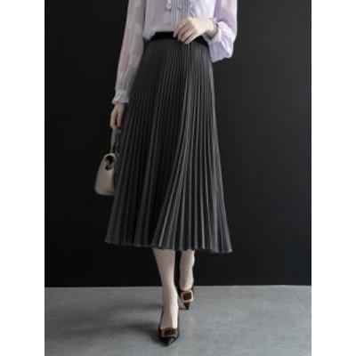 冬新作 プリーツスカート 体型カバー 大人可愛い 綺麗め カジュアル お出かけ デート 20代 グレー ブラウン