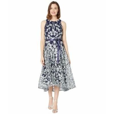 タハリ レディース ワンピース トップス Flare Skirt Party Dress Navy Mint Floral