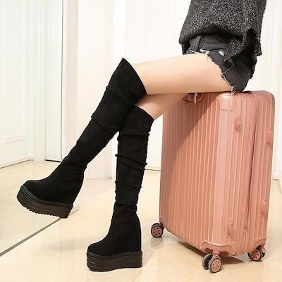 ロングブーツ シューズ ブーツ 厚底 ハイヒール ニーハイブーツ/サイハイブーツ/女性ロングブーツ/ロングブーツ/低い台脚(だいきゃく)ロングブーツ/ハイヒールブーツ