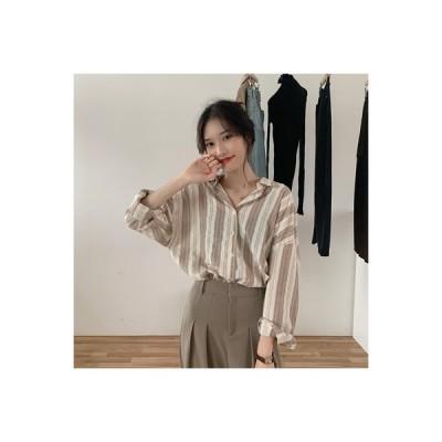 【送料無料】ネット レッド 色のストライプをトレンド 長袖シャツ 女 秋 韓国風 デザ | 346770_A63568-8952425