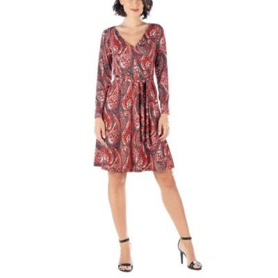 24セブンコンフォート レディース ワンピース トップス Women's Paisley Print Long Sleeve A-Line Dress