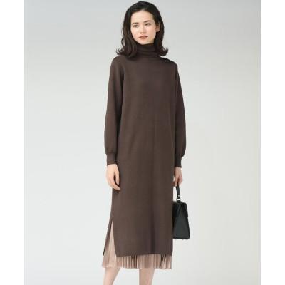 【メイソングレイ】 プリーツスカート付きニットワンピース レディース ブラウン M MAYSON GREY