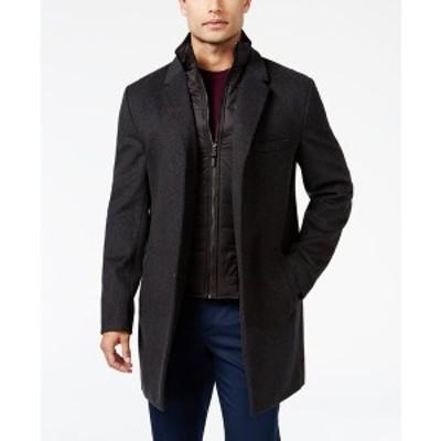マイケルコース メンズ ジャケット&ブルゾン アウター Michael Kors Men's Water-Resistant Slim-Fit Overcoat with Zip-Out Liner Char