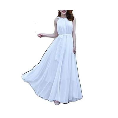 [ベイブスター] シフォン ロング ドレス パーティー 結婚式 二次会 マキシ丈 後ろリボン ウエストマーク ウエストベルト キャバクラドレ