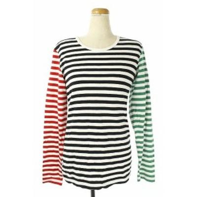 【中古】マリメッコ marimekko Tシャツ ロンT ボーダー 長袖 S 白 黒 緑 赤 /AO ■OSW レディース