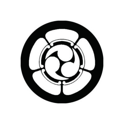 家紋シール 白紋黒地 五つ瓜に左三つ巴 布タイプ 直径40mm 6枚セット NS4-1104W