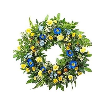 並行輸入品 WANNA-CUL 24 Inch Spring Summer Artificial Carnation Flower Wreath for Fron