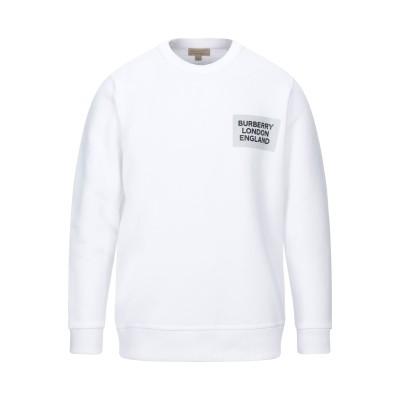 BURBERRY スウェットシャツ ホワイト M コットン 100% / ポリウレタン スウェットシャツ