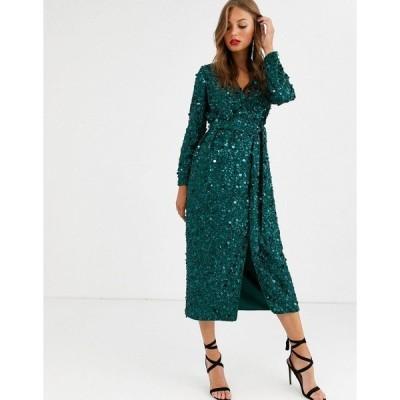 エイソス レディース ワンピース トップス ASOS EDITION wrap midi dress in disc sequin Forest green
