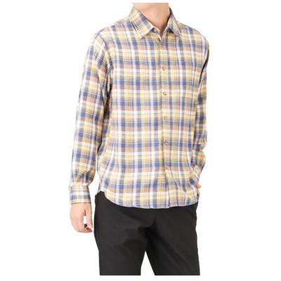 (MAC HOUSE(men)/マックハウス メンズ)Navy フランネルチェックレギャラーシャツ NM8177-03/メンズ LGイエロー