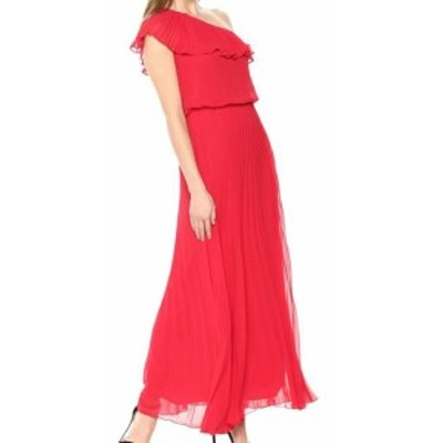 Maxi  ファッション ドレス Xscape NEW Red Pleated One Shoulder Ruffle Womens Size 4 Maxi Dress
