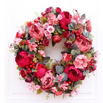 クリスマスリース クリスマス花輪 ドアリース 店舗 玄関 部屋 壁飾り 人工造花 飾り  北欧風 赤い 40cm