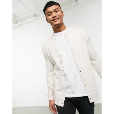 エイソス ジャケット ジャンパー ブルゾン メンズ ASOS DESIGN organic jersey muscle bomber jacket in beige with poppers エイソス ASOS