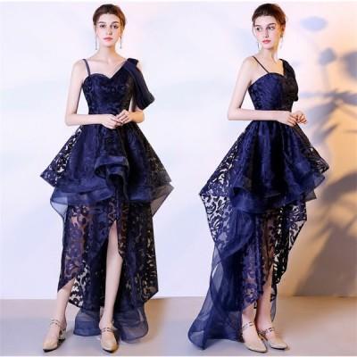 ショートドレス カラードレス ウェディングドレス 結婚式 パーティードレス 大きいサイズ ミニドレス ワンピース 披露宴 二次会 発表会 入学式[紺色]