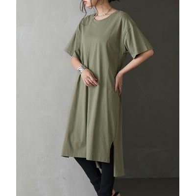 裾スリットBIGシルエットワンピース (ワンピース)Dress