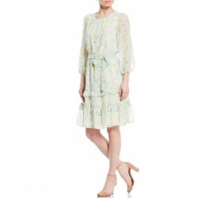 カルバンクライン レディース ワンピース トップス Ditsy Floral Print Chiffon Ruffle Trim 3/4 Sleeve Belted Dress Cashmere Combo