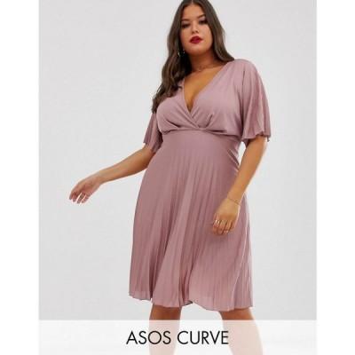 エイソス ASOS Curve レディース ワンピース ワンピース・ドレス kimono pleated midi dress Rose