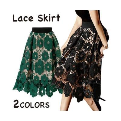 レーススカート 膝丈? スカート  花柄