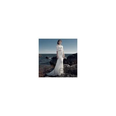 ウェディングドレス二次会花嫁ドレス結婚式ドレスパーティードレスマーメイドセパレート大きいサイズxl袖ありおしゃれ大人セクシー総レースオフ