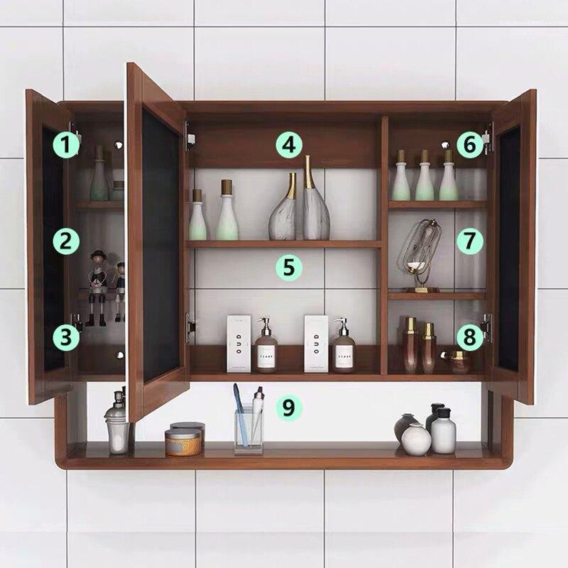 免運 浴室鏡櫃 橡木浴室鏡櫃挂牆式衛生間鏡子帶置物架洗漱台收納櫃實木儲物單獨