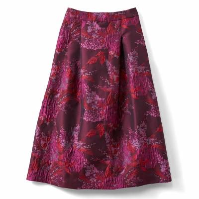 一点投入で着映えする ミドル丈ジャカードスカート〈ピンク〉 IEDIT[イディット] フェリシモ FELISSIMO