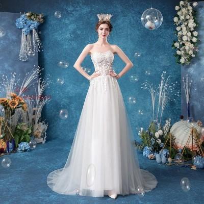 パーティードレス ウエディングドレス 二次会 花嫁 Aライン 白 フォーマル お呼ばれ トレーン お呼ばれ 結婚式 チュール ロングドレス 演奏会 レース