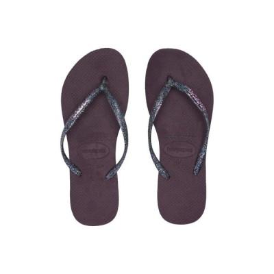ハワイアナス Havaianas レディース ビーチサンダル シューズ・靴 Slim Logo Metallic Flip Flops Aubergine/Silver