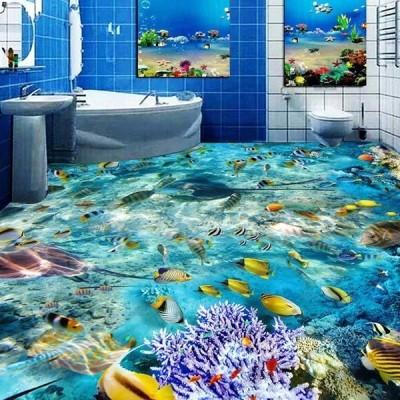 3D フローリング 1ピース 1m2 海 海底 珊瑚 熱帯魚 防カビ 耐水 おしゃれ クロス インテリア 装飾 床用 フロア DIY