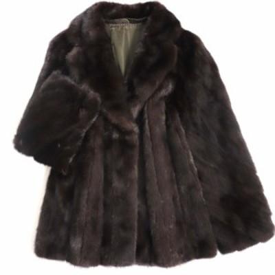 毛並み極美品▼MINK ミンク 本毛皮コート ダークブラウン 毛質艶やか・柔らか◎