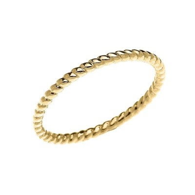 14k Yellow Gold Dainty Stackable Rope Design Ring (Size 8)