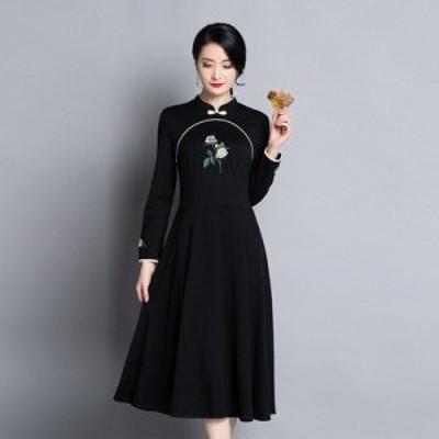 上品 【春SALE】気質ワンピース 結婚式 春夏 チャイナ風 エレガント 中国風 大人 ワンピース レディース 刺繍ドレス