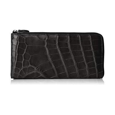 ヤモチ リアル クロコダイル L字ファスナー 薄型 長財布 マチ付き (g-1333) g-1333-col-bk ブラック