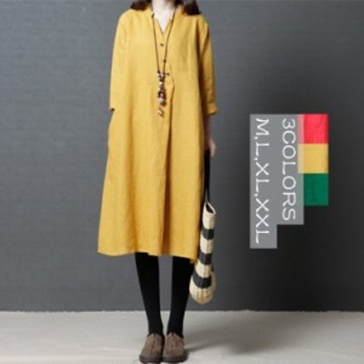 民族風ワンピース ロングドレス ひざ丈ワンピース チュニック 大きいサイズ リンネル 3色展開 夏 新作
