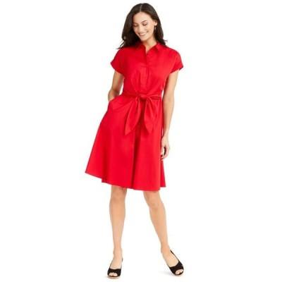 チャータークラブ レディース ワンピース トップス Cotton Tie-Waist Fit & Flare Dress