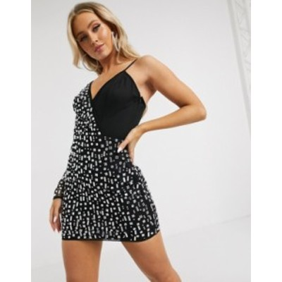 エイソス レディース ワンピース トップス ASOS DESIGN embellished one shoulder mini dress in black Black