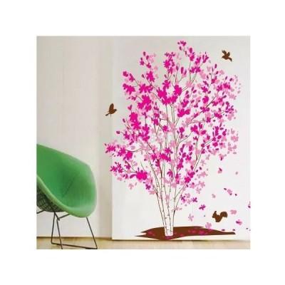 ウォールステッカー 壁紙 シール 防水 ウォールペーパー 部屋装飾 花の木 鳥 ピンク