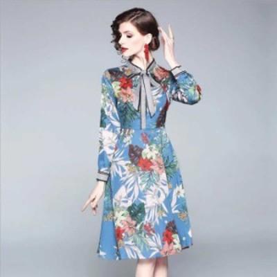 予約商品 大きいサイズ レディース 結婚式 二次会 レトロ リボンタイ 花柄プリント ワンピースオーバーサイズ 韓国ファッション ビッグサ