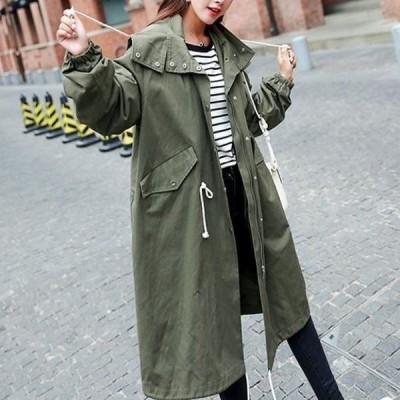 コート  ミニタリ—コート カジュアル メンズ風 フード付き ゆったり ロング丈 ひも付き カッコいい