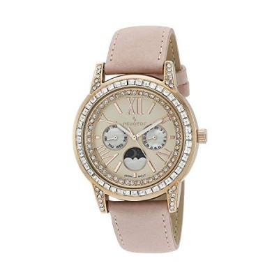Peugeot Women Crystal Bezel Dress Watch, Day Date Moon Phase Function & Mother of Peal Dial with Roman Numeral, Pink Suede Strap並行輸入
