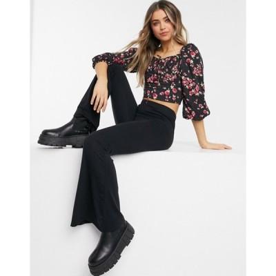 ミスセルフフリッジ レディース シャツ トップス Miss Selfridge shirred blouse in black