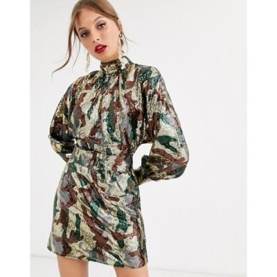 エイソス レディース ワンピース トップス ASOS DESIGN mini dress in camo sequin in slouchy fit with belt