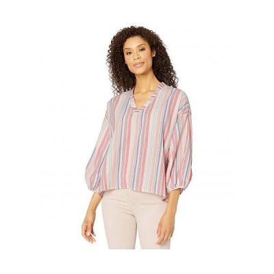 Mod-o-doc モッドオードック レディース 女性用 ファッション ブラウス Cotton Stripe Shirting Peasant Blouse - Coral