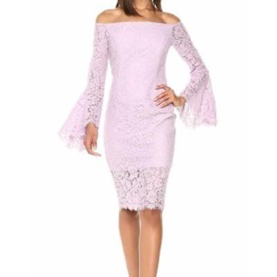 Bardot バルドー ファッション ドレス Bardot NEW Purple Womens Size Small S 6 Lace Bell Sleeve Sheath Dress