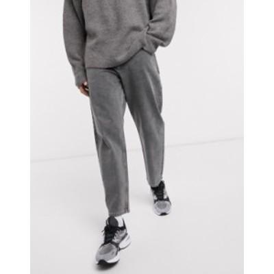 エイソス メンズ デニムパンツ ボトムス ASOS WHITE tapered jeans in 14 oz washed black denim Washed black