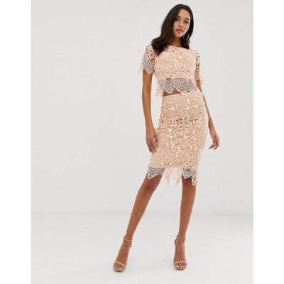 フォーエバーユニーク Forever Unique レディース ワンピース ワンピース・ドレス lace midi dress Pink