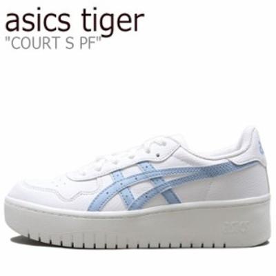 アシックスタイガー スニーカー asics tiger レディース COURT S PF コート S PF WHITE ホワイト BLUE ブルー 1202A024-102 シューズ
