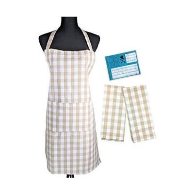 バッファローチェック 織キッチンエプロンとディッシュタオル2枚セット 便利なキッチン変換マグネット付き (タン)並行輸入品