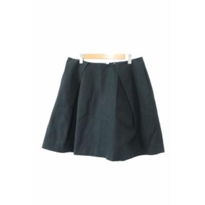 【中古】ドゥーズィエムクラス DEUXIEME CLASSE スカート フレア ひざ丈 デニム ボックスプリーツ 38 黒 ブラック レディース