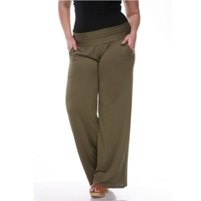 ホワイトマーク カジュアルパンツ ボトムス レディース Plus Size Solid Palazzo Pants Green